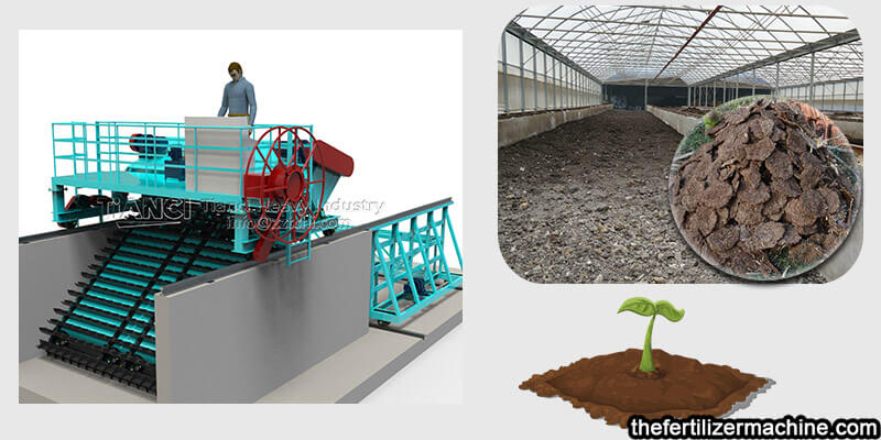 cow dung organic fertilizer compost turning machine process